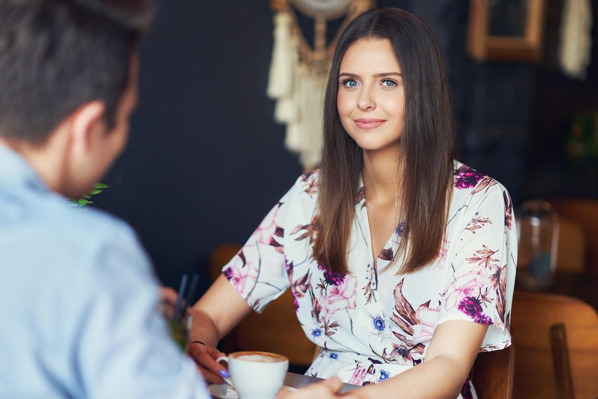 Romantic couple dating in restaurant