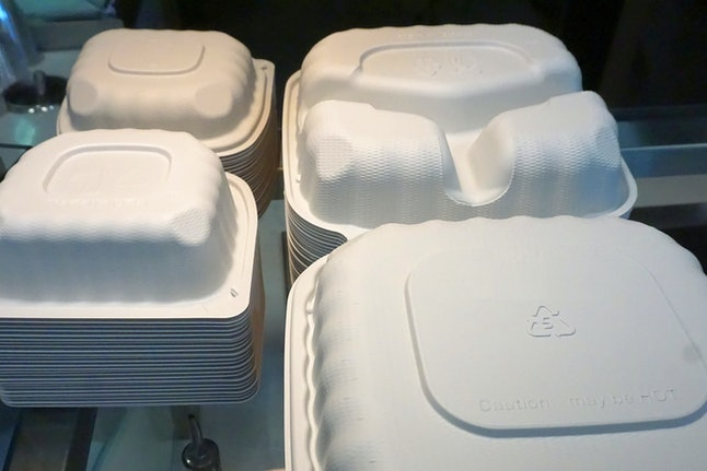 molded fiber take-out containers, compostable; Harrisonburg, VA, USA