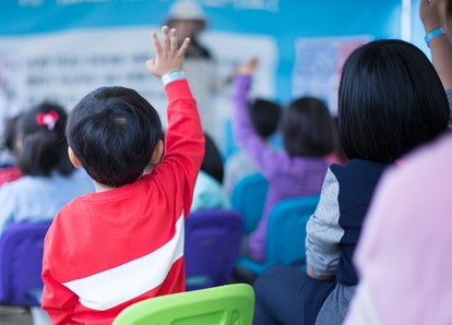 School Children in Classroom Raising Their Hand. Teacher Calling on Students. Teacher Teaching a Lesson in Class. Kids Go on a Field Trip. Question and Answer Session in Asian Elementary School.