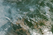 A handout photo made available by NASA of a satellite image showing several fires burning in the Bra...