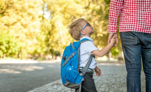 Parent taking child to school. Pupil of primary school go study with backpack outdoors. Father and s...
