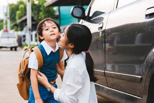 Family happy mother mom send children kid son boy kindergarten to school, education back and back to...
