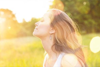Woman enjoy the nature.