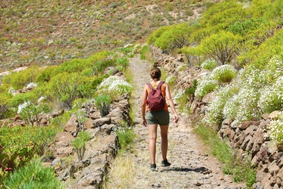 Girl with backpack walks along the mountain path. A woman is walking along a stony road in Tenerife.