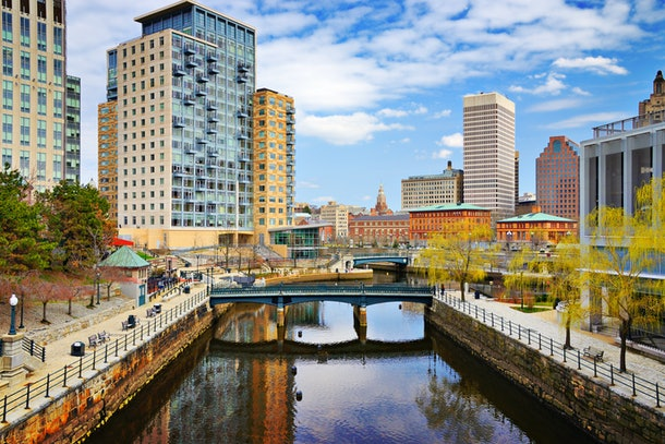 Providence, Rhode Island cityscape at Waterplace Park.