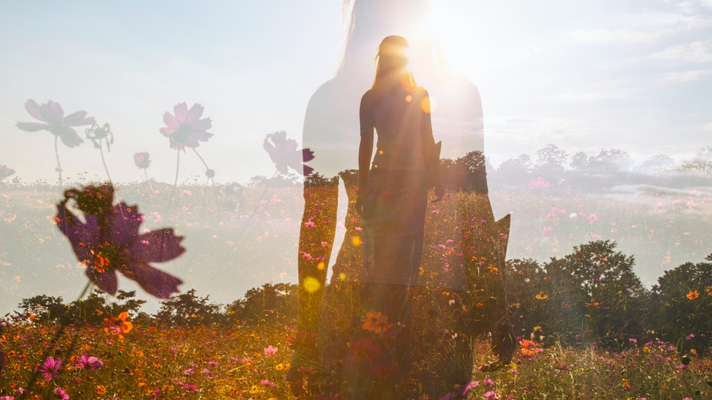 Girl in a field of flowers, double exposure