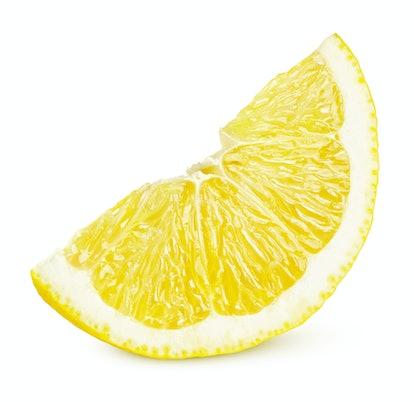 One slice of lemon citrus fruit isolated on white background. Lemon slice with shadow