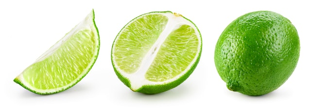 Lime isolated. Lime set: slice, piece, half, quarter, part, segment, section isolate on white.