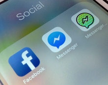 This photo shows application icons from left, Facebook, Facebook Messenger and Messenger Kids on an ...