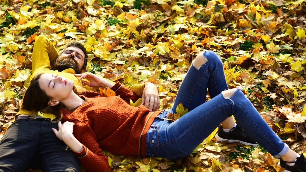 Couple in love lies on dry fallen leaves in park. Man and woman with calm faces on grass and leaves background. Girl and bearded guy or lovers on a date have rest. Romance and sunny fall mood concept