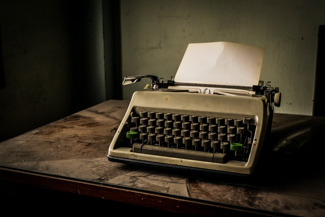 Work place, Typewriter in dusty room.
