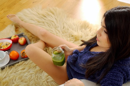 breakfast beautiful brunette with smoothie