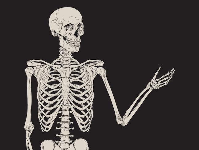 Human skeleton posing isolated over black background vector illustration