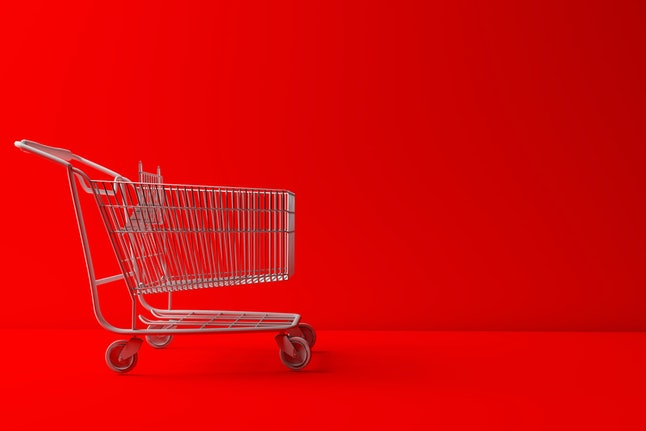 White Shopping Carts on Red background abstract image 3d rendering illustration