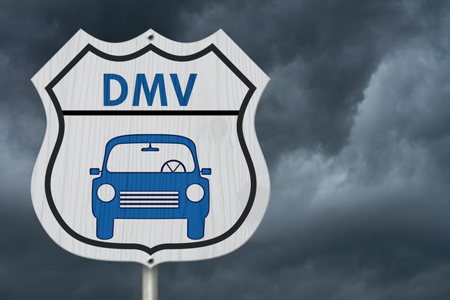 Visit to the DMV Highway Sign, Icon of a car and text DMV on a highway sign isolated with stormy sky background 3D Illustration