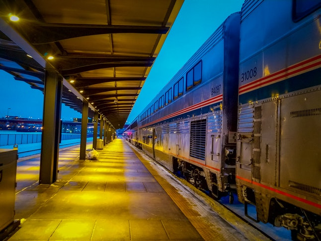 Amtrak Train at a train station in winter