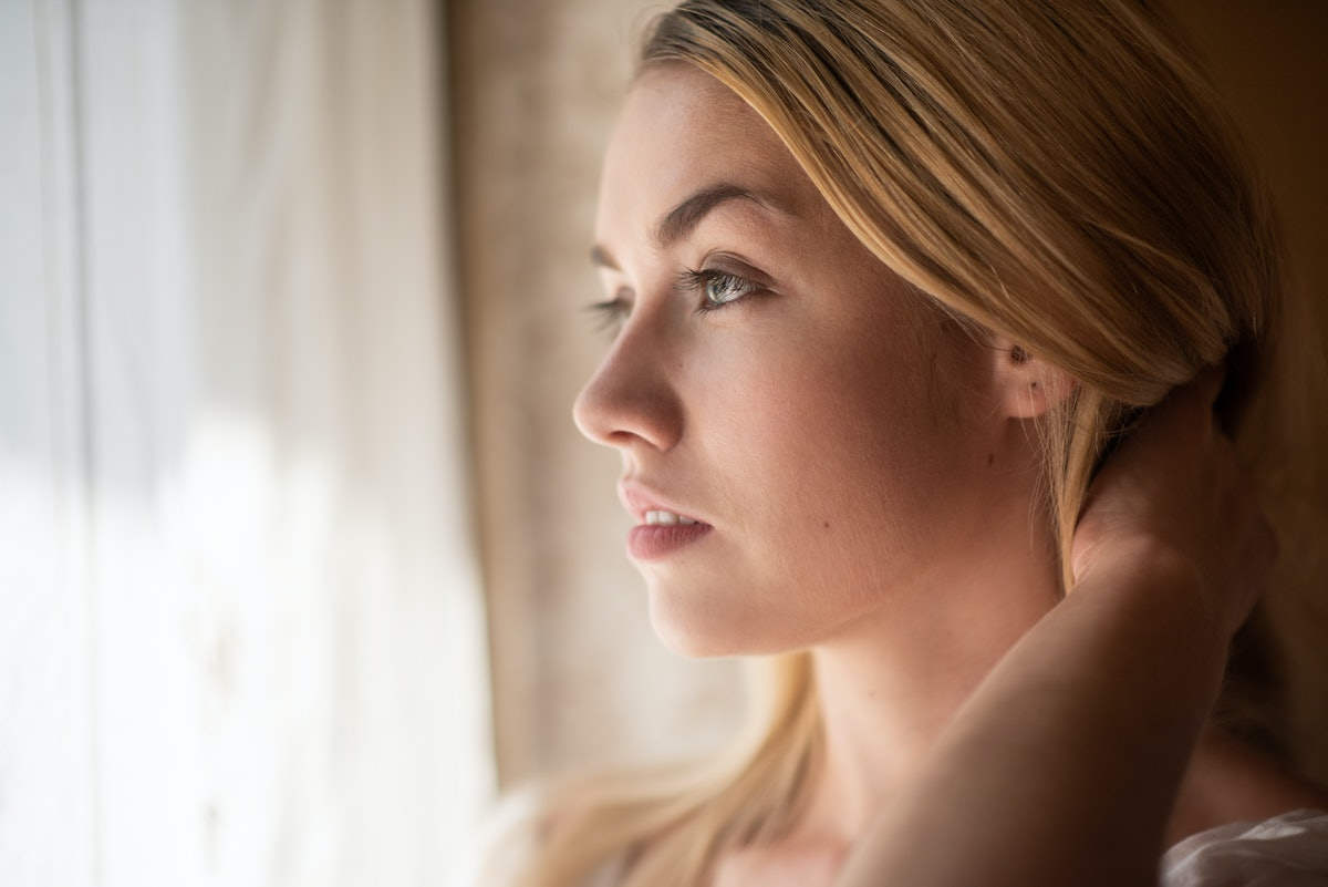 Side view portrait of a young pretty woman