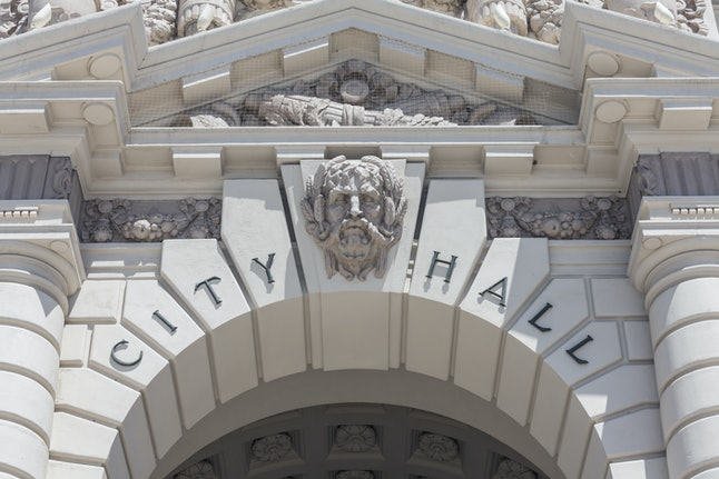 Pasadena City Hall building sign detail in southern California.
