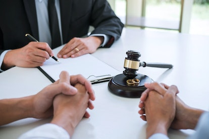 Agreement prepared by lawyer signing decree of divorce (dissolution or cancellation) of marriage, hu...