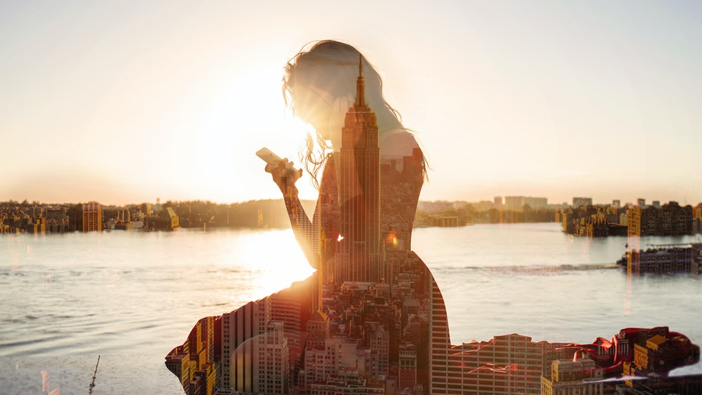 double exposure girl with a phone in New York