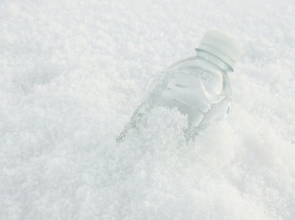 Leaving a bottle of soda in the snow for a few hours can be a fun way to make an at-home Slurpee.