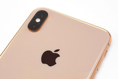 Detail Of An Apple iPhone Xs Max Smartphone With A Gold Finish