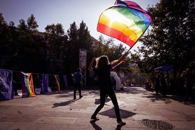 People attend a gay pride event