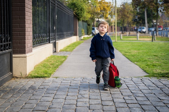 Little boy at his first day of school