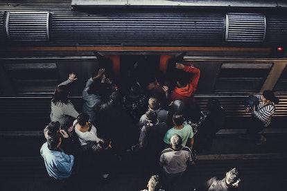 Train crowd subway transit