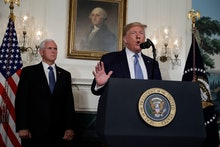 President Donald Trump speaks about the mass shootings in El Paso, Texas and Dayton, Ohio, in the Di...