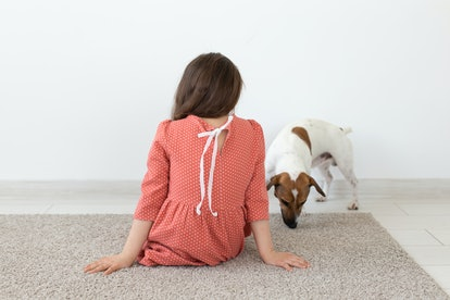 Rear view of a little girl in a red polka dot dress sitting on the floor next to her beloved dog Jack Russell Terrier on a white background. The concept of children's products.