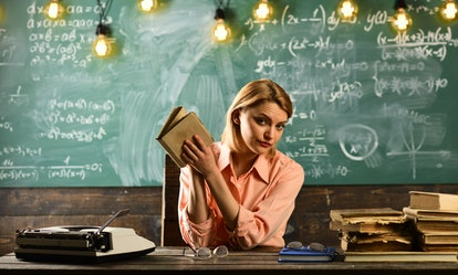 Back to school and home schooling. Woman read love story novel in library. Private detective research. Information. Literature lesson with grammar book. New technology in modern school education