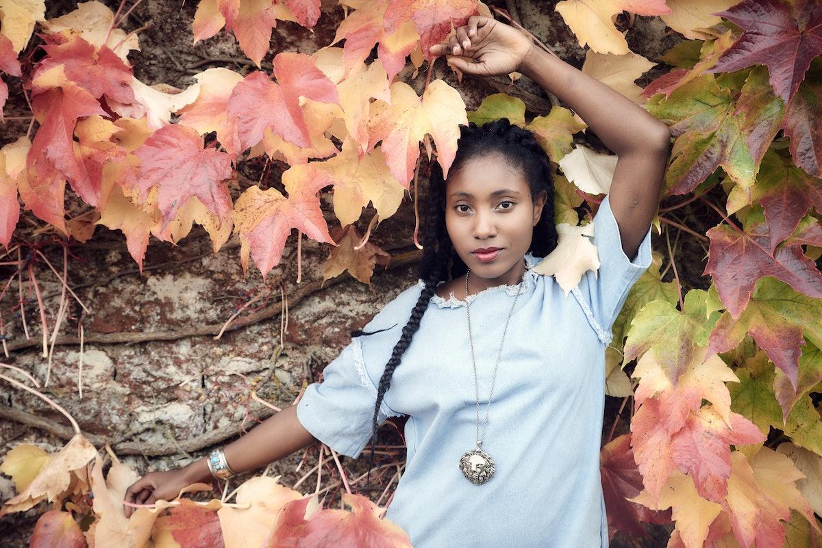 Beautiful black woman posing - fashion
