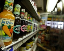 A selection of Arizona Iced Tea is shown at a convenience store in New York. Calls to boycott Arizon...
