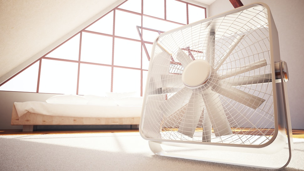 Closeup of fan in bedroom interior. 3D Rendering