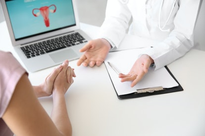 Gynecologist working with patient in office