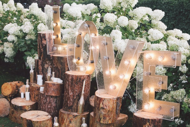 Decorated meadow for wedding ceremony.