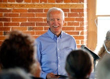 Democratic presidential candidate former Vice President Joe Biden smiles as he speaks during a campa...