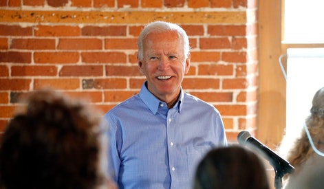 Democratic presidential candidate former Vice President Joe Biden smiles as he speaks during a campaign stop, in Laconia, N.H