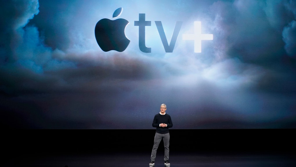 Apple CEO Tim Cook speaks at the Steve Jobs Theater during an event to announce new products, in Cupertino, Calif