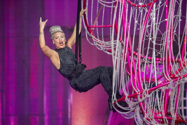 US singer Pink performs during a concert of her 'Beautiful Trauma Tour' at the Letzigrund Stadium in...