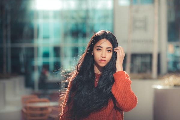 beautiful girl. in the city