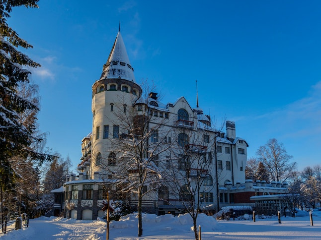Mystery in White and Blue. Snowy and Sunny Imatra, Finland. Castle Hotel View