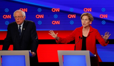 Sen. Bernie Sanders, I-Vt., and Sen. Elizabeth Warren, D-Mass., participate in the first of two Democratic presidential primary debates hosted by CNN, in the Fox Theatre in Detroit