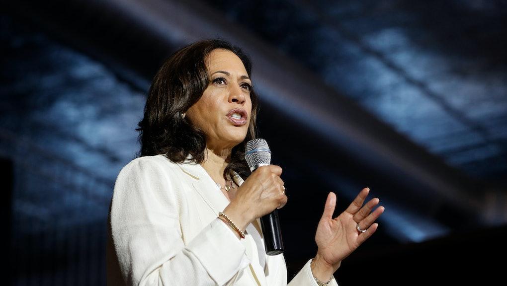 Democratic presidential candidate Sen. Kamala Harris, D-Calif., speaks at a campaign event on healthcare, in Burlington, Iowa