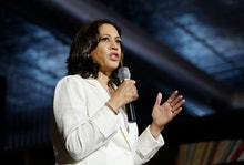 Democratic presidential candidate Sen. Kamala Harris, D-Calif., speaks at a campaign event on health...