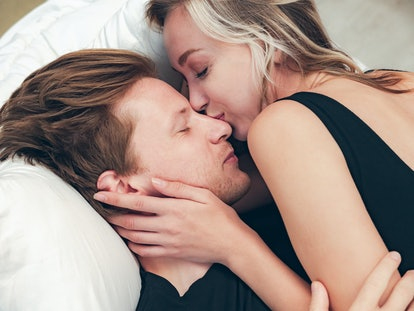 romantic couple feeling loving on bed in bedroom, People lifestyles concept.