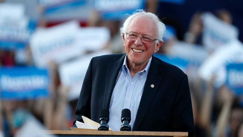 Bernie Sanders, r m. Democratic presidential candidate Sen. Bernie Sanders, I-Vt., speaks during a rally at a campaign stop, in Denver