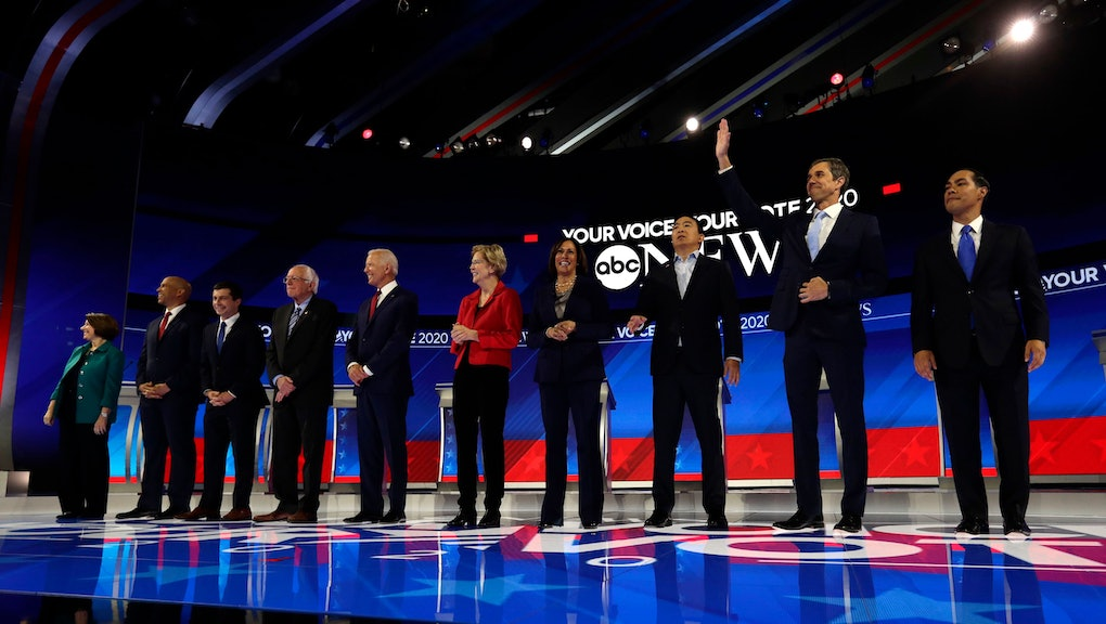 Amy Klobuchar, Cory Booker, Pete Buttigieg, Bernie Sanders, Joe Biden, Elizabeth Warren, Kamala Harris, Andrew Yang, Beto O'Rourke, Julian Castro. From left, Democratic presidential candidates Sen. Amy Klobuchar, D-Minn., Sen. Cory Booker, D-N.J., South Bend Mayor Pete Buttigieg, Sen. Bernie Sanders, I-Vt., former Vice President Joe Biden, Sen. Elizabeth Warren, D-Mass., Sen. Kamala Harris, D-Calif., entrepreneur Andrew Yang, former Texas Rep. Beto O'Rourke and former Housing Secretary Julian Castro are introduced for the Democratic presidential primary debate hosted by ABC on the campus of Texas Southern University, in Houston