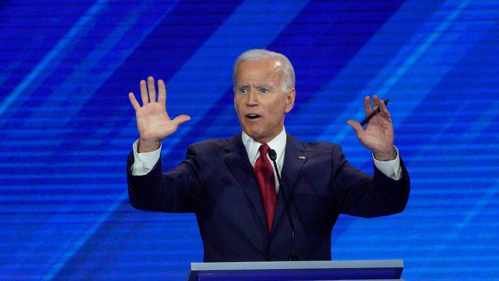 Democratic presidential candidate former Vice President Joe Biden answers a question, during a Democratic presidential primary debate hosted by ABC at Texas Southern University in Houston